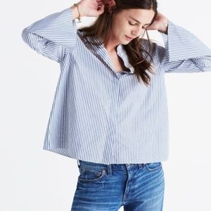 Madewell | Striped Bell Sleeve Navy and White Top
